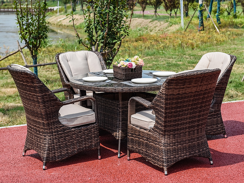wicker dining table with chairs
